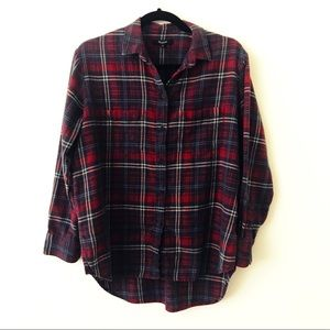 MADEWELL Red Tartan Plaid Oversized Flannel Shirt